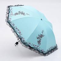 fleurs de pli achat en gros de-6 couleurs fleur de prunier Parasol dentelle trois parapluie pliant UV ensoleillé / pluie parasol dentelle soleil parapluie pluie femmes