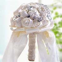ingrosso diamante fiore artificiale-26x18CM Matrimoni con fiori in raso Bouquet da sposa in raso Ramos de novia con fiori artificiali Spilla con diamanti in cristallo Bouquet da sposa