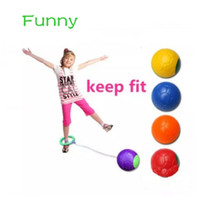 Wholesale Kids Jump Ball - Funny children exercise one foot skip hard ball plastic jump ball foot hula hoop skipping rope ball toy outdoor toys kids gift