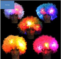 Wholesale kids party clowns online - Party Led wigs for women mens kids flashing wigs Festival christmas glowing hair wig cosplay clown wigs