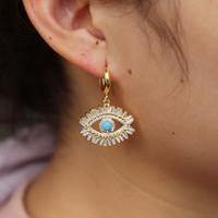 ingrosso ragazza di occhi azzurri-Orecchini ciondola Bohemia affascinanti orecchini turchi oro blu occhi gioielli dichiarazione fortunato mano di fatima cz orecchini per le ragazze regali