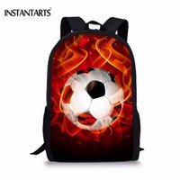 Wholesale cool fashion school bags resale online - INSTANTARTS Fashion Boys School Bags Cool D Fire Soccerly Ball Print Book Shoulder Bags for Teenager Boy Kids Bookbag Backpacks