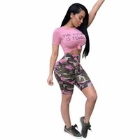 Wholesale sexy jumpsuits xxl for sale – dress 4 color camouflage Print Summer Style tracksuit fashion sexy women s set two pieces Jumpsuit suits casual nightclub XXL