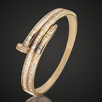 brazalete de amor al por mayor-Zlxgirl Marca Mujeres Tamaño Cobre circonio cúbico Brazalete de la joyería Classic Love Bangle brazaletes de circonia de las mujeres Accesorios nupciales