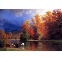Wholesale framed river oil paintings for sale - Hand Painted HD Canvas Print Oil Painting On the Saco cows in autumn landscape by river Wall Art Home Decor on canvas Multi Sizes