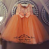 ingrosso vestiti arancioni da ragazza di fiori del bambino-Lovely Orange Flower Flower Dresses per Wedding 2020 A Line Crystal Knot Bow Plus Size Toddler Pageant Girls Birthday Party Gowns