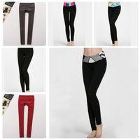 Wholesale sexy leggings yoga pants online - Fashion Sexy Women Yoga Leggings Pants Elastic Fitness Sports Tights Women Elastic Running Trousers COLOR KKA3608