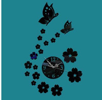 ingrosso guardare le fate-32X56CM Orologio da parete in acrilico Butterfly Girl Wall Sticker Orologio Murale Orologio Design moderno Picture Clock Fairy Butterfly Mirror D