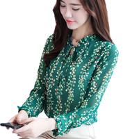 koreanische blüten-chiffon-bluse großhandel-DAIQIANNI Floral Chiffon Bluse 2017 Herbst Langarm Tunika Tops Büro Frauen Shirt Beiläufige Lose Blusas Mujer Korean Camisas