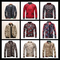 Wholesale peplum xxl - 2018 Hot Italy Italy Brand Snake Print Stand Collar Jacket Luxury Famous Brands Men's Fashion Spring And Autumn 3D Jacket Size M-XXL