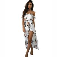 kapalı omuz bohem mini elbisesi toptan satış-Bir kez 3.28 Ucuz Kapalı Omuz Asimetrik Çiçek Baskı Boho Uzun Yaz Yeni Kadınlar Rahat Plaj Bohemian Elbise