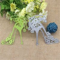 Wholesale craft high heel shoes resale online - Template high heeled shoe with flowers Metal cutting dies Stencil Scrapbooking Photo Album Card Paper Embossing Craft DIY