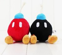 anime malzeme ücretsiz gönderim toptan satış-14 CM Süper Mario Bros Bomba dolması oyuncak siyah ve kırmızı bomba yumuşak peluş bebek sevimli bomba ücretsiz kargo çocuklar için iyi hediye