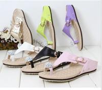 Wholesale Pink Rhinestone Sandals - 2018 fashion Rhinestone Clip toe flip flops Women's shoes Comfortable belt buckle decoration flat Female sandals slippers Free shipping