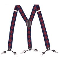 Wholesale big man suspenders - 120cm Mens Suspender 3.5cm Wide Women Big Plussize Suspenders 3 Clip-On Y-Back Plaid Navyblue Braces Elastic Man Accessories