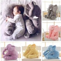 Wholesale soft stuffed elephant toy - Stuffed Animals Plush Toys 1PC 40 60cm Infant Soft Appease Elephant Playmate Calm Doll Baby Appease Toys Elephant Pillow Plush Toys