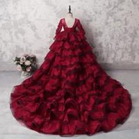 ballkleid röcke für mädchen großhandel-100% Real Image Dark Red Lace Mädchen Pageant Kleider Sheer Neck Long Sleeves Stufenrock Ballkleid Korsett Kinder Party Kleider