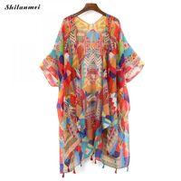 kimono femenino al por mayor-2018 blusa colorida chaqueta de verano blusa de gasa retro boho floral de encaje cardigan hippie kimono cardigan tops mujer