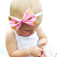 "Wholesale hot shiny girls - Baby Girls Gold and Pink Headbands Kids Hot stamping Shiny Bowknot Hairbands baby headbands children hair accessories Headwear 15"" KHA142"