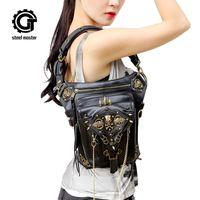 saco de perna novo venda por atacado-Saco Do Crânio Steampunk Messenger Bag Ombro Saco Gótico Personalidade Feminina 2017 Nova Moda Das Mulheres Dos Homens Cintura