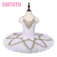 Wholesale latest women costume for sale - Latest White Gold Classical Performance Stage Costume Dress Girls Dance Costumes Tutus Ballerina ChildsBLST18002
