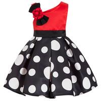 4a3383bfe621 Verano rojo puntos niñas vestidos de fiesta para niños Tween negro Tutu  princesa vestido formal adolescentes ropa tamaño 6 8 10 años