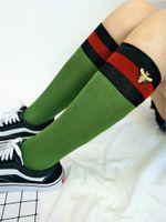Wholesale knee socks for women - 2018 Fashion Strip Bee Embroidery Knee High Long Socks Sports Hip Hop Stocking for Women Girls