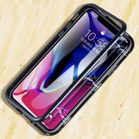 металлические флип-чехлы оптовых-2018 продажа мода магнитный флип чехол для IPhone X 8 7 плюс прозрачная закаленная стеклянная пленка 360 градусов полная задняя крышка металлический Магнит чехол для телефона