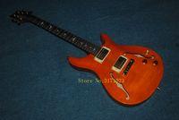 ingrosso porcellana di qualità chitarre-Chitarra elettrica vuota superiore della fiamma arancio di alta qualità Nuovo arrivo dalla Cina
