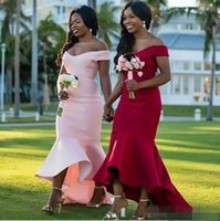 Wholesale off shouder - Simple Red Pink Satin Mermaid Bridesmaid Dresses African Off Shouder Long Vintage Wedding Guest Gowns Lace Arabic Maid Of Honor Dress