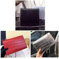 Wholesale black crocodile leather handbags resale online - Crocodile pattern cowhide Designer Handbags high quality Luxury Handbags Famous bag women Original Genuine Leather Shoulder Bags