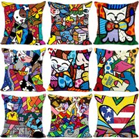 Wholesale Fashion Cotton Linen Pillow Case Sofa Romero Britto Style Row Delicate Cushion Covers Throw Pillows New Style my Ww