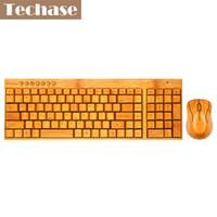 bambú portátil al por mayor-Teca Teclado E Teclado delgado de madera Teclado y Mouse inalámbrico Mini Fio de Bamboo Design Mini Teclado y Combo para Laptop