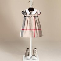 Wholesale beach doll - Children's clothes Plaid Dress Kid's Cotton Bowknot Short Sleeved Dress Large Square Pattern Girl's Doll Princess Dress LC772