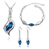 Wholesale zircon diamond earring for sale - Group buy 11Colors Austria Crystal Bracelet Earrings Necklace Sets Zircon Diamond Jewelry Sets for Women Lady Valentine Day Wedding Christmas Gift