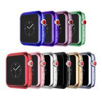 ingrosso vigilanza di colore di 38mm-Custodia protettiva per elettroplate per Apple Watch serie iWatch 1 2 3 38mm 42mm 40mm 44mm Placcatura in silicone morbido Caseshell abbinamento perfetto 10 colori
