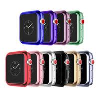 38mm farbuhr großhandel-galvanische Schutzhülle für Apple Watch iWatch Serie 1 2 3 38mm 42mm 40mm 44mm Beschichtung Weiches Silikon Caseshell perfekte Übereinstimmung 10 Farbe