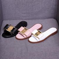 kravat yastıkları toptan satış-Papyon Rahat Açık Düz Sandalet Yeni Kadın Sandalet Yaz Moda Çevirme kadın Marka ShoesBeach Terlik boyutu 34-41