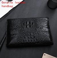 çantalar 3d boyutlu toptan satış-Fabrika kendi marka erkek çanta moda 3D üç boyutlu timsah deri çanta yüksek kaliteli deri debriyaj çanta iş deri cüzdan
