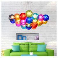 ingrosso salotto lampadario balaustre moderno-lampadario a led Nordic creativo colorato bolla palla palla soggiorno lampada moderna camera da letto minimalista corridoio ristorante avize