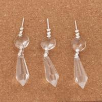 candelabros de cristal gota al por mayor-30 unids / lote Gran Claro Araña Cristales de Cristal Lámpara Prismas Partes Colgando Gotas Colgantes Joyas Hallazgos Componentes