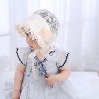 schwarze baby hüte caps großhandel-2018 Hot Baby Girls Bonnets Muster Frühling Sommer Hüte Caps Baby Weiß Rosa Schwarz Bonnets Bonnet BABY OSTERN BONNETS FÜR BABYS