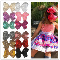 Wholesale Sequin Hairbands - Big bowknot Kids Girls Hairpins Grosgrain Satin Ribbon hairbands girl Sequin bow hair clip Hair Accessories YYA1000