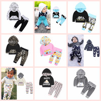 Wholesale Wholesale Baby Winter Clothing - INS Kids Clothing Set Cotton Floral Striped Suit With Cap Hat Outfits Baby Sets Long Sleeve Children Animal Hoodies Pants 40 Styles AAA125