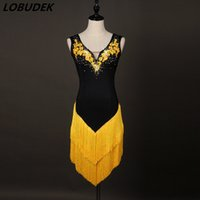 Wholesale yellow latin - Female Latin dance tassels dress ballroom dancing All-match performance clothing yellow Crystals one piece Dress stage show DS costumes