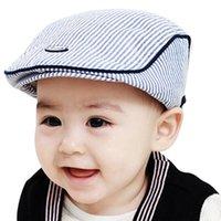 gorras de beisbol al por mayor-Lindos Baby Berets Infant Boy Girl Stripe Beret Cap 2018 colores de caramelo enarboló el sombrero de béisbol s Beisbol Mujer