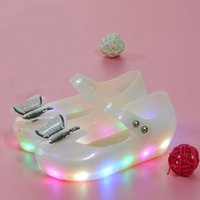 Летний блеск Mini Melissa Little Butterfly Knot LED Light Girls Сандалии Bow Kids Shoes Дети Beach Sandals LED Flash Antiskid Jelly Shoes