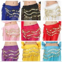 Wholesale belly dance costumes children - 145*24cm Fashion Girls Belly Dance Waist Chain 128coin Belly Dance Wrap Costume Child Hip Scarf Ethnic Clothes Kids Stage Wear AAA599