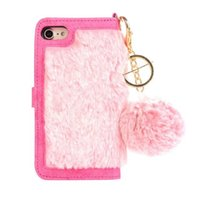 Wholesale rabbit skin fur - Luxury Fluffy Wallet Case For Iphone X 8 7 Plus 6 6S Plus Rabbit Hair Fur Leather Magnetic Removable Detachable Flip Skin Phone Pouch Cover