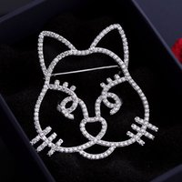 Wholesale Women Cat Suits - Men Women Luxury Brand Design Brooch White Gold Plated AAA CZ Cartoon Cat Kitty Brooch Suit Lapel Pin for Party Wedding NL-579